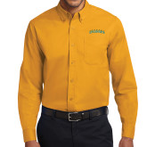 Gold Twill Button Down Long Sleeve-Arched Vermont Catamounts