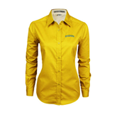 Ladies Gold Twill Button Down Long Sleeve-Arched Vermont Catamounts