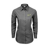 Ladies Grey Tonal Pattern Long Sleeve Shirt-Slanted Vermont Catamounts