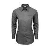 Ladies Grey Tonal Pattern Long Sleeve Shirt-Arched Vermont Catamounts