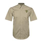 Khaki Twill Button Down Short Sleeve-Official Logo