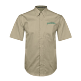 Khaki Twill Button Down Short Sleeve-Arched Vermont Catamounts