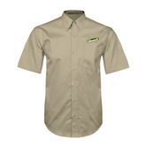 Khaki Twill Button Down Short Sleeve-Slanted Vermont Catamounts