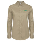 Ladies Khaki Twill Button Down Long Sleeve-Slanted Vermont Catamounts