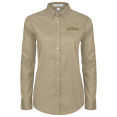Ladies Khaki Twill Button Down Long Sleeve-Arched Vermont Catamounts