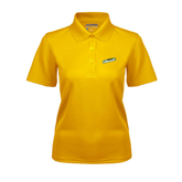 Ladies Gold Dry Mesh Polo-Slanted Vermont Catamounts