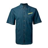 Denim Shirt Short Sleeve-Slanted Vermont Catamounts