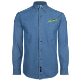 Denim Shirt Long Sleeve-Slanted Vermont Catamounts