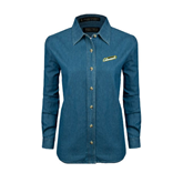 Ladies Denim Long Sleeve Shirt-Slanted Vermont Catamounts