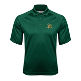 Dark Green Textured Saddle Shoulder Polo-Official Logo