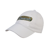 White Twill Unstructured Low Profile Hat-Slanted Vermont Catamounts