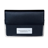 Leather Black Business Card Case-University of Vermont Engraved