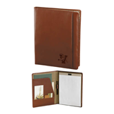 Cutter & Buck Chestnut Leather Writing Pad-Official Logo Engraved