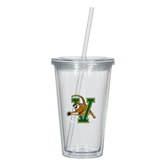 Madison Double Wall Clear Tumbler w/Straw 16oz-Official Logo