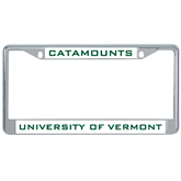 Metal License Plate Frame in Chrome-Vermont Catamounts