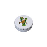 White Round Peppermint Clicker Tin-Official Logo