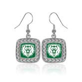 Crystal Studded Square Pendant Silver Dangle Earrings-Athletic Bear Head