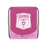 Nylon Zebra Pink/White Patterned Drawstring Backpack-Primary Athletic Mark