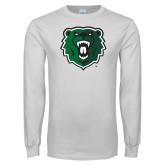 White Long Sleeve T Shirt-Athletic Bear Head