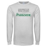 White Long Sleeve T Shirt-Parkside Wordmark Vertical