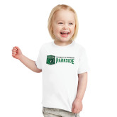 Toddler White T Shirt-Primary Athletic Mark with Wordmark