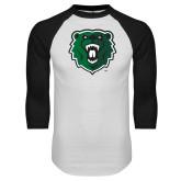 White/Black Raglan Baseball T Shirt-Athletic Bear Head