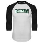 White/Black Raglan Baseball T Shirt-Rangers Wordmark