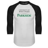 White/Black Raglan Baseball T Shirt-Parkside Wordmark Vertical