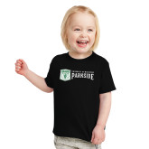 Toddler Black T Shirt-Primary Athletic Mark with Wordmark