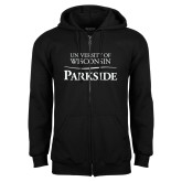 Black Fleece Full Zip Hoodie-Parkside Wordmark Vertical