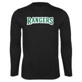 Performance Black Longsleeve Shirt-Rangers Wordmark