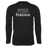 Performance Black Longsleeve Shirt-Parkside Wordmark Vertical