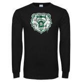 Black Long Sleeve T Shirt-Bear Head Distressed