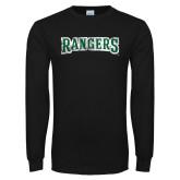 Black Long Sleeve T Shirt-Rangers Wordmark  Distressed