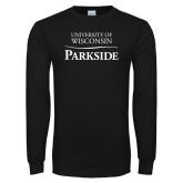 Black Long Sleeve T Shirt-Parkside Wordmark Vertical