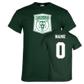 Dark Green T Shirt-Primary Athletic Mark, Custom tee w/ name and #