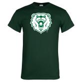 Dark Green T Shirt-Athletic Bear Head