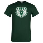 Dark Green T Shirt-Bear Head Distressed