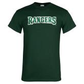 Dark Green T Shirt-Rangers Wordmark  Distressed