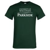 Dark Green T Shirt-Parkside Wordmark Vertical