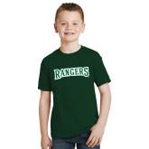 Youth Dark Green T Shirt-Rangers Wordmark