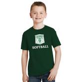 Youth Dark Green T Shirt-Softball