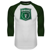 White/Dark Green Raglan Baseball T Shirt-Primary Athletic Mark