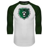 White/Dark Green Raglan Baseball T Shirt-Athletic Bear Head