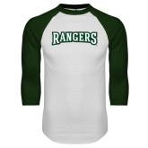 White/Dark Green Raglan Baseball T Shirt-Rangers Wordmark