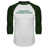 White/Dark Green Raglan Baseball T Shirt-University of Wisconsin-Parkside