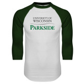 White/Dark Green Raglan Baseball T Shirt-Parkside Wordmark Vertical