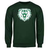 Dark Green Fleece Crew-Athletic Bear Head