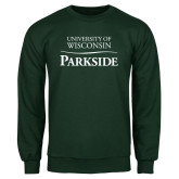 Dark Green Fleece Crew-Parkside Wordmark Vertical