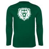 Performance Dark Green Longsleeve Shirt-Athletic Bear Head